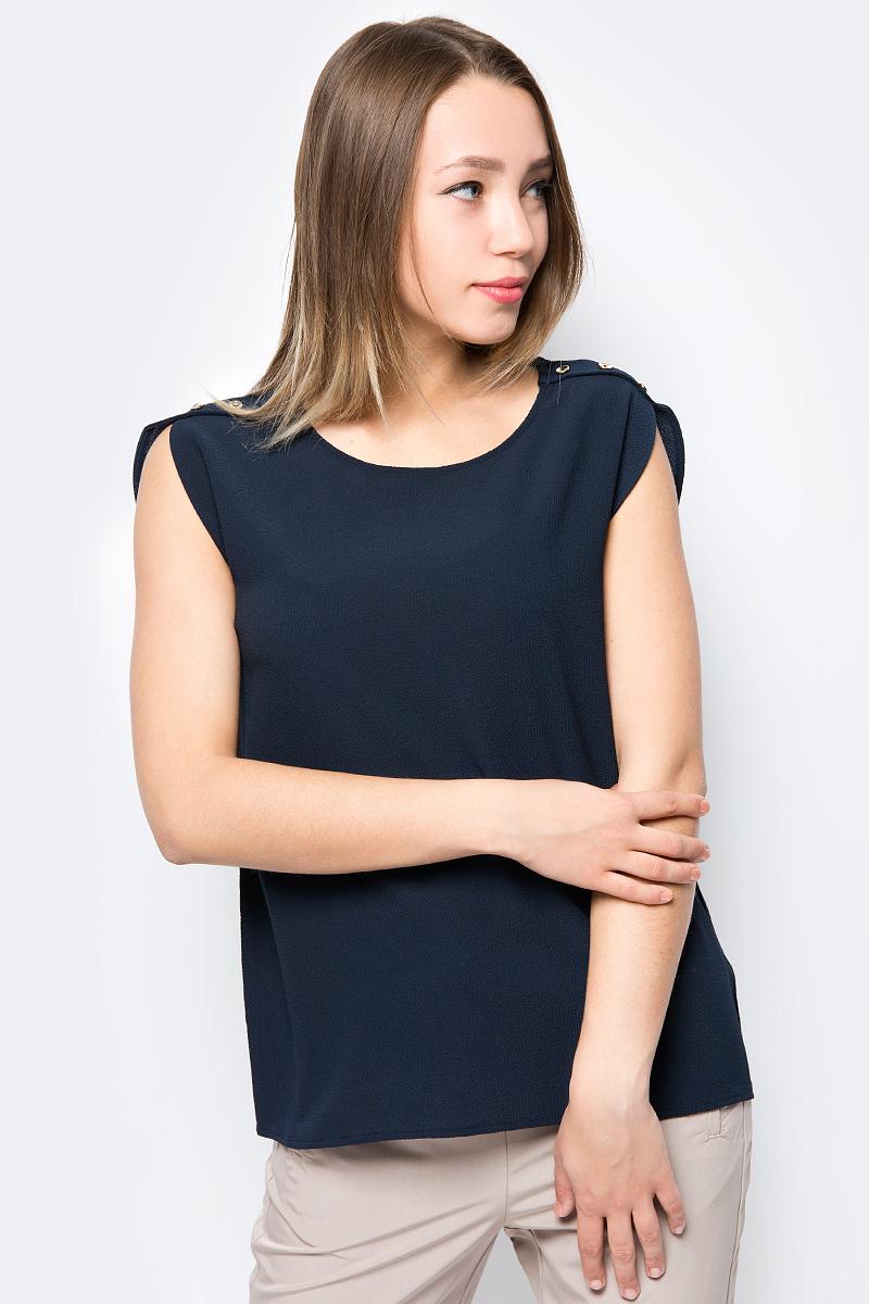 все цены на Блузка женская Sela, цвет: темно-синий. Tws-112/356-8263. Размер 48 онлайн