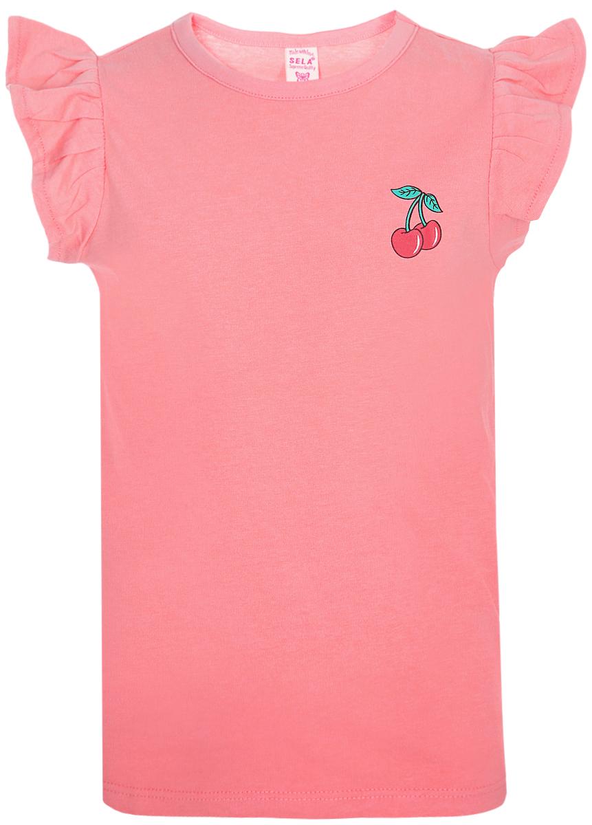 Футболка для девочки Sela, цвет: розовый. Tsl-511/485-8213. Размер 110, 5 лет футболка для девочки sela цвет розовый ts 511 486 8213 размер 116 6 лет