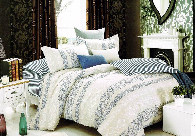 """Комплект постельного белья Tango """"Dafne"""", 2-спальный, наволочки 50x70, цвет: синий, бежевый"""