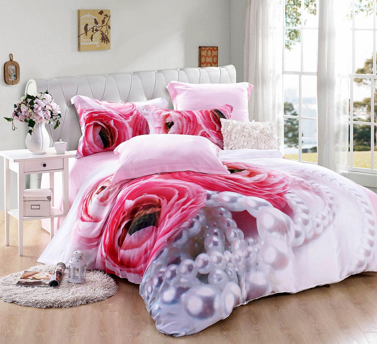 Комплект постельного белья Tango Wilfred, евро, наволочки 50х70, 70х70, цвет: розовый, красный комплекты постельного белья tango постельное белье jacklyn 2 сп евро