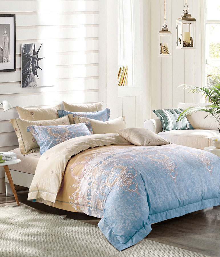 Комплект постельного белья Tango Ahern, евро, наволочки 50x70, цвет: бежевый, голубой комплект постельного белья 2 спальный из сатина seta цвет голубой розовый