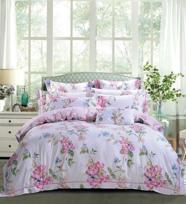 Комплект постельного белья Tango Adrea, евро, наволочки 50x70, цвет: розовый, сиреневый комплект постельного белья 2 спальный из сатина seta цвет голубой розовый