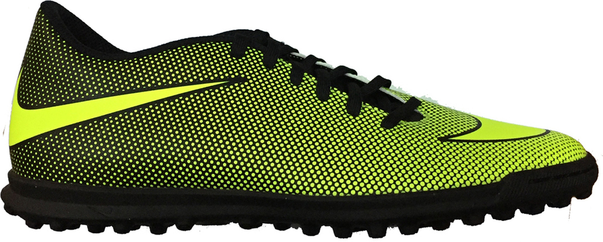 Бутсы мужские Nike Bravatax Ii Tf, цвет: желтый, черный. 844437-070. Размер 6 (37,5)844437-070Mens Nike BravataX II (TF) Turf Football Boot Мужские футбольные бутсы для игры на газоне Nike BravataX II (TF) оптимизируют скорость без ущерба для контроля над мячом. Разнонаправленные шипы помогают быстро развивать скорость, а микрорельеф верха повышает сцепление для большего контроля над мячом. Верх из синтетической кожи для прочности и превосходного касания. Поверхность верха с микротекстурой обеспечивает превосходный контроль мяча на высокой скорости. Асимметричная шнуровка увеличивает площадь контроля над мячом. Контурная стелька обеспечивает низкопрофильную амортизацию, снижая давление от шипов. Прочная резиновая подметка гарантирует отличное сцепление при игре в помещении.