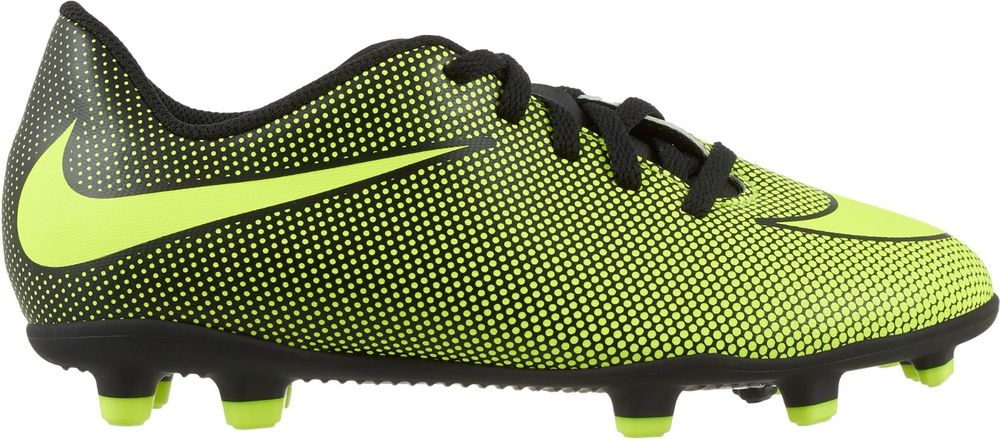 Бутсы для мальчика Nike JrBravata Ii Fg, цвет: желтый, черный. 844442-070. Размер 10C (26)844442-070Детские футбольные бутсы для игры на твердом грунте Nike Jr. Bravata II (FG) оптимизируют скорость без ущерба для касания мяча. Разнонаправленные шипы помогают быстро развивать скорость, а микрорельеф верха повышает сцепление для большего контроля над мячом. Верх из синтетической кожи для прочности и превосходного касания. Поверхность верха с микротекстурой обеспечивает превосходный контроль мяча на высокой скорости. Асимметричная шнуровка увеличивает площадь контроля над мячом. Контурная стелька обеспечивает низкопрофильную амортизацию, снижая давление от шипов. Подметка предназначена для игры на твердом натуральном покрытии.