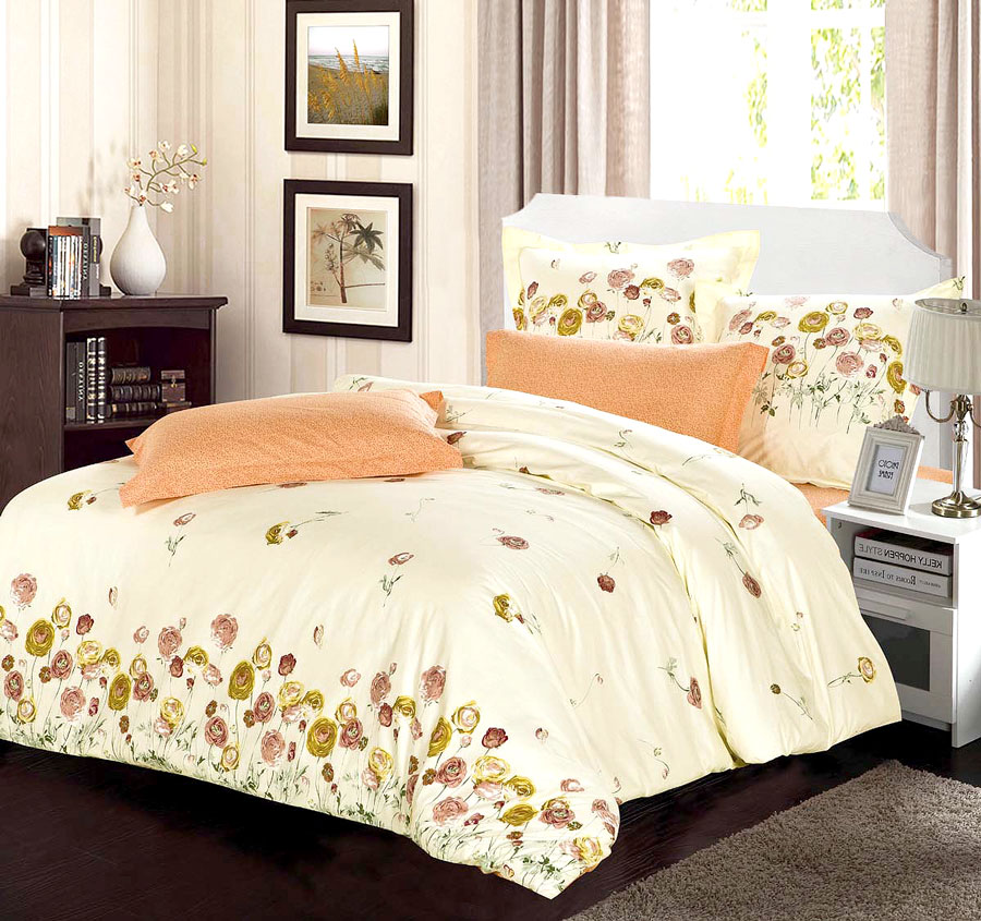 Комплект белья СайлиД Betsy, 1,5-спальный, наволочки 70x70, цвет: персиковый комплект постельного белья 2 спальный из сатина seta цвет голубой розовый