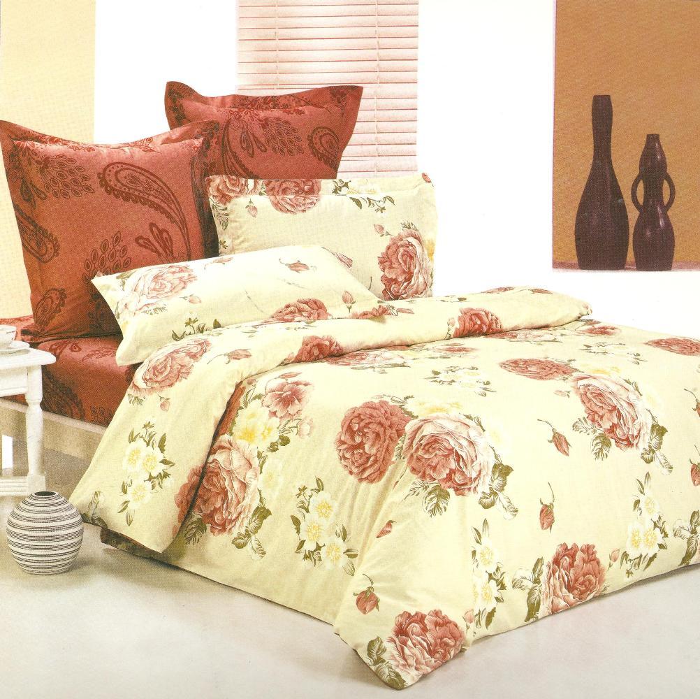 Комплект постельного белья СайлиД Maya, 1,5-спальный, наволочки 70x70, цвет: бежевый, коричневый, кремовый