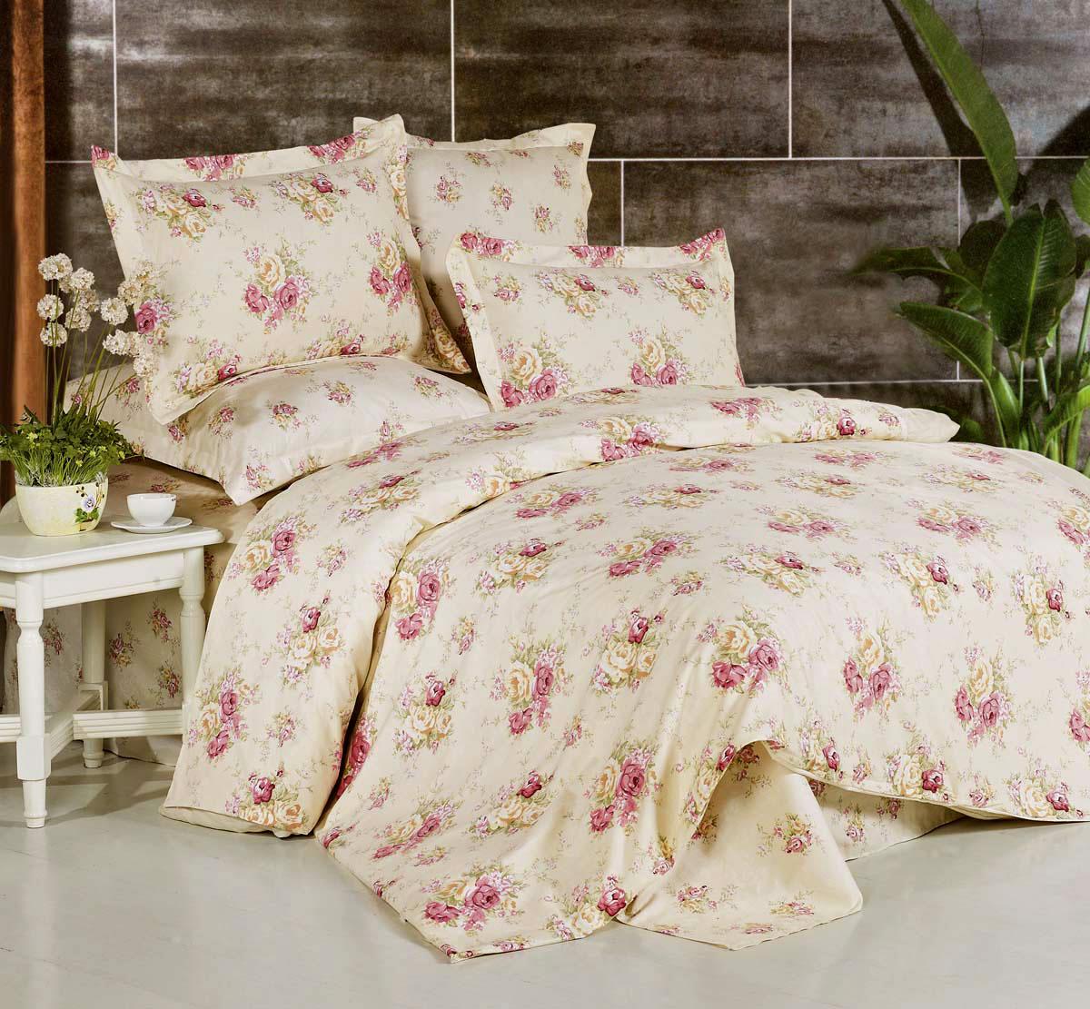 Комплект постельного белья СайлиД Amy, 1,5-спальный, наволочки 70x70, цвет: желтый, кремовый