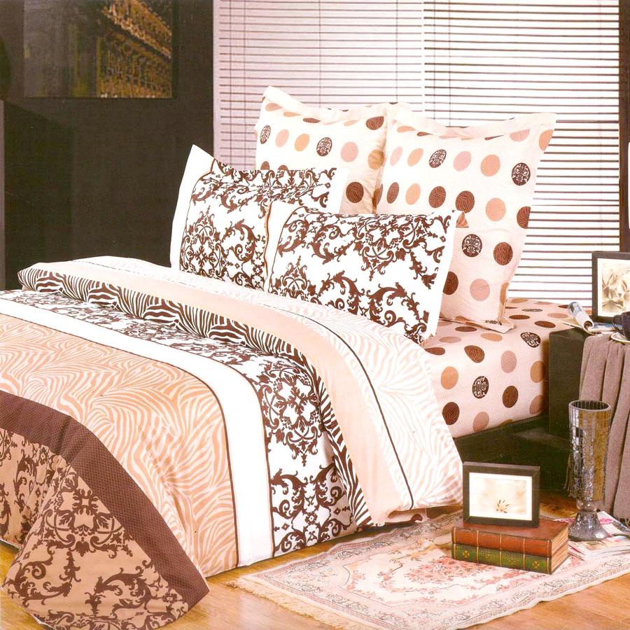 Комплект постельного белья СайлиД Andora, 1,5-спальный, наволочки 70x70, цвет: персиковый, белый, коричневый