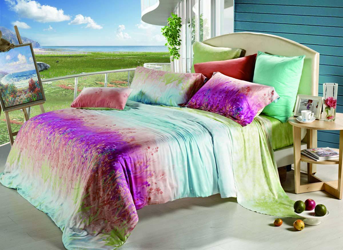 Комплект постельного белья СайлиД Zilean, 2-спальный, наволочки 50x70, цвет: зеленый, розовый, голубойsail54399Наволочки с декоративным кантом особенно подойдут, если вы предпочитаете класть подушки поверх покрывала. Кайма шириной 5-10 см с трех или четырех сторон делает подушки визуально более объемными, смотрятся они очень аккуратно, даже парадно. Еще такие наволочки называют оксфордскими или наволочками «с ушками».Чтобы получить ткань тенсел, стебли и листья эвкалипта подвергают термической обработке. Как и любая другая искусственная ткань, тенсел на 100% состоит из натуральных волокон. Постельное белье из тенсела по гладкости и мягкости напоминает шелк, но не такое скользкое. По прочности он не уступает сатину, а по бактерицидным свойствам не хуже бамбука. Главное отличие тенсела в том, что он очень хорошо впитывает влагу и быстро сохнет.