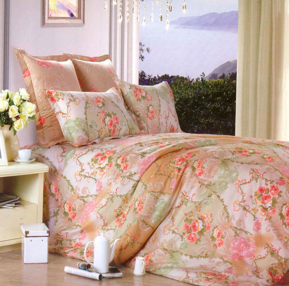 Комплект постельного белья СайлиД Rini, 1,5-спальный, наволочки 70x70, цвет: сиреневый, розовый, бежевый