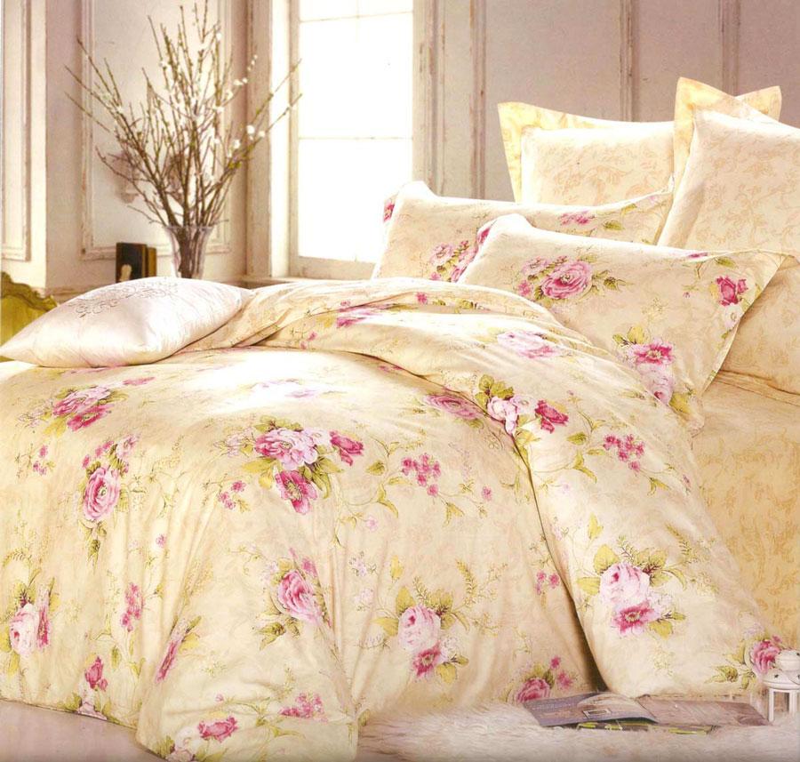 Комплект постельного белья СайлиД Petra, 1,5-спальный, наволочки 70x70, цвет: персиковый