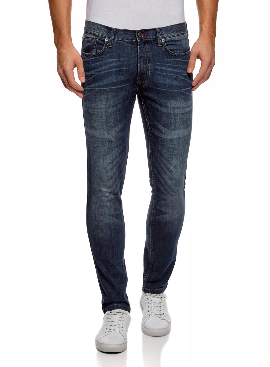 Джинсы мужские oodji Lab, цвет: синий джинса. 6L120128M/45068/7500W. Размер 31-34 (48-34)6L120128M/45068/7500WЗауженные джинсы от oodji выполнены из эластичного хлопкового денима. Модель Slim в поясе застегивается на пуговицу и имеет ширинку на молнии, имеются шлевки для ремня. Джинсы имеют классический пятикарманный крой.