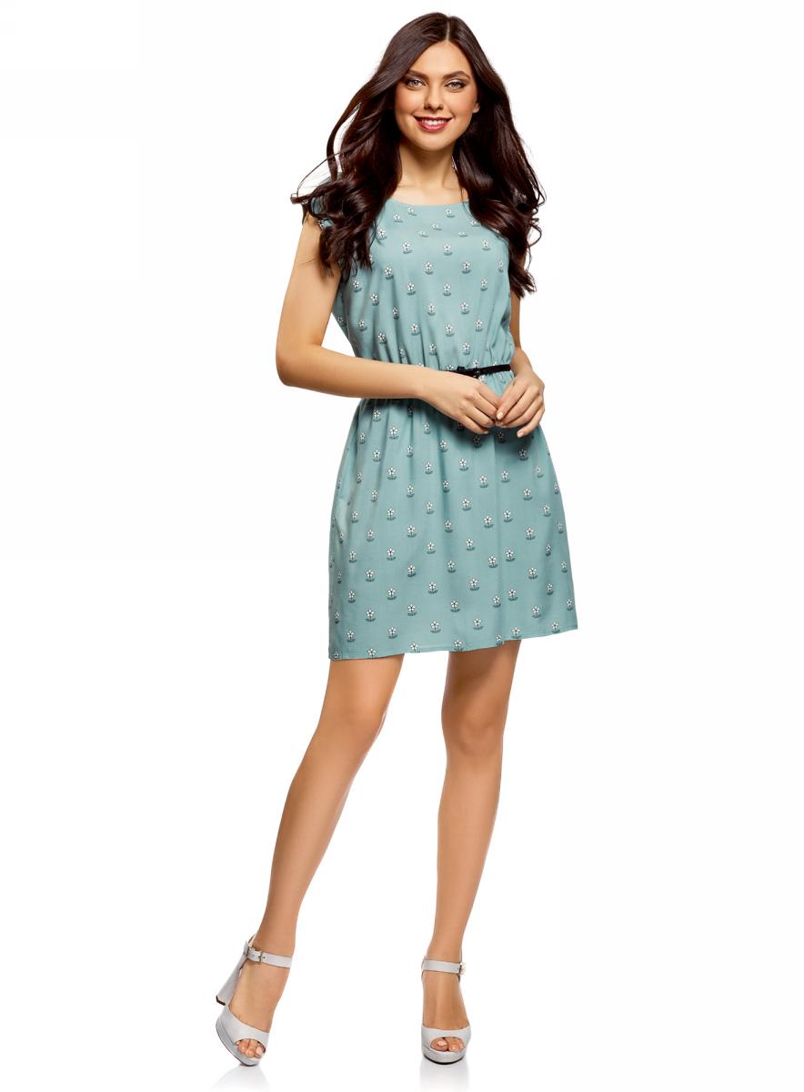 Платье женское oodji Ultra, цвет: ментоловый, черный. 11910073B/26346/6529F. Размер 36 (42-170) платье oodji ultra цвет темно синий розовый 11910073b 26346 7941f размер 36 164 42 164