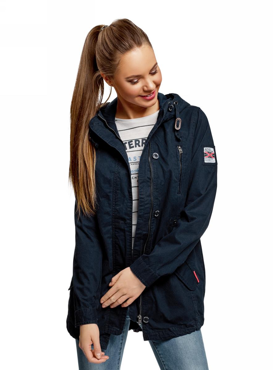Куртка женская oodji Ultra, цвет: темно-синий. 11D03009/48103/7900N. Размер 36 (42-170)11D03009/48103/7900NПарка легкая