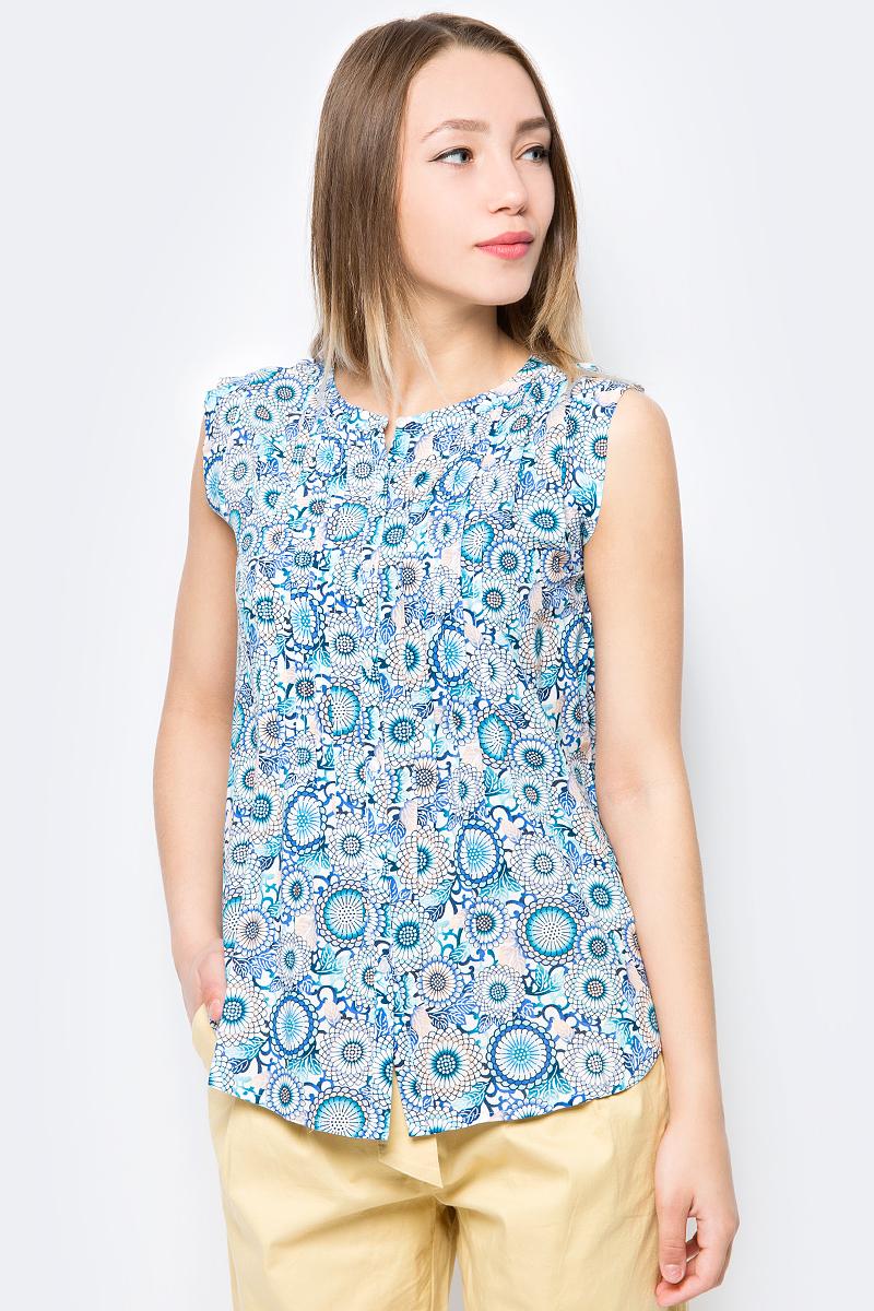 все цены на Блузка женская Sela, цвет: белый, синий, персиковый. Bsl-112/268-8213. Размер 52 онлайн