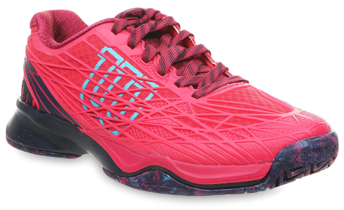 Кроссовки для тенниса женские Wilson Kaos W Virtual, цвет: красный. WRS323240. Размер 5 (37)WRS323240Женские кроссовки для тенниса от Wilson - легкая и комфортная модель для быстрых и атакующих спортсменов всех возрастов. Кроссовки создают законченный образ с одеждой бренда Wilson. Верх модели выполнен из искусственной кожи со вставками из дышащего текстиля и оформлен названием и логотипом бренда. Классическая шнуровка гарантирует удобство и надежно фиксирует модель на ноге. Технология EndoFit создает идеальный обхват и посадку по ноге. Технология 2D-F.S для устойчивости и стабильности при боковых движениях; шасси Pro-Torque Chassis LT в верхней части подошвы контролирует поверхности при небольшом весе обуви. Технология Dynamic Fit-Dfz дает отличный контакт с кортом. Химически активные вещества R-DST в пяточной части для максимальной амортизации. Технология Duralast для лучшего сцепления с поверхностью корта. Съемная стелька EVA с внешней текстильной поверхностью обеспечивает комфорт во время пребывания на улице. Антибактериальная пропитка против запаха.