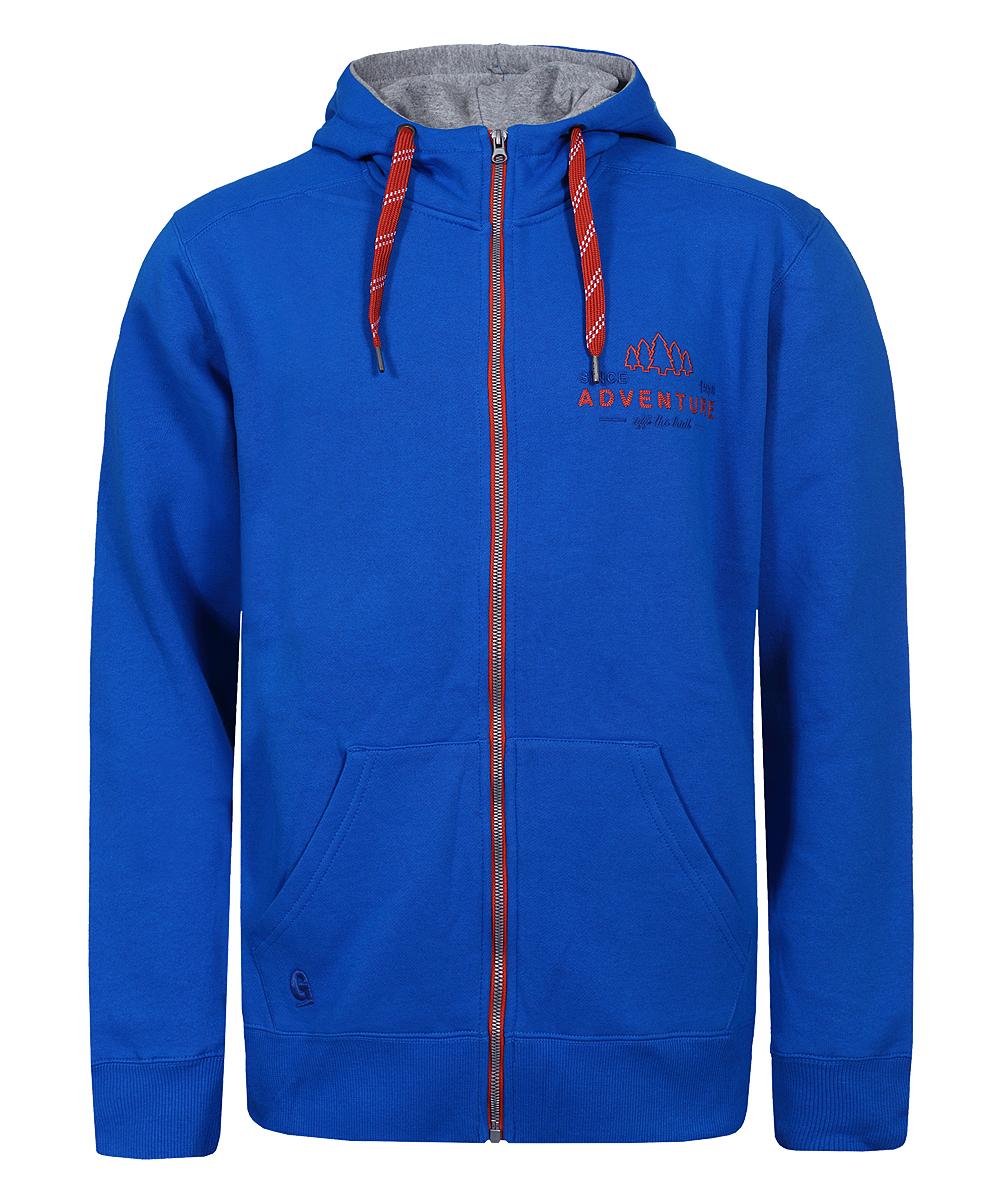 Худи мужское Guahoo, цвет: синий. G31-8800SWH/BL. Размер XXL (56)G31-8800SWH/BLМужская толстовка с капюшоном- подойдет для прогулок, как верхняя одежда в прохладную погоду или под куртку в холодную погоду- изготовлена из толстого х/б флиса с начесом внутри, который хорошо сохраняет тепло- застежка молния по всей длине- передние накладные карманы- плотные трикотажные манжеты и пояс- капюшон на регулируемых широких завязках-шнурках- вышивка ADVENTURE слева на груди- вышитый логотип G на правом кармане.