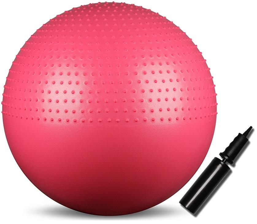 Мяч гимнастический Indigo Anti-burst, массажный, с ручным насосом, диаметр 65 см мяч для пилатеса и аэробики indigo диаметр 25 см