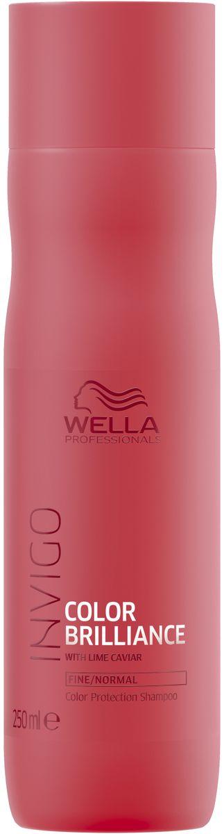 Wella Invigo Color Brilliance Шампунь для защиты цвета окрашенных нормальных и тонких волос, 250 мл81648831Шампунь для защиты цвета Invigo Color Brilliance. Поддерживает яркость цвета окрашенных волос. С защитной технологией Anti-Oxidant Shield. С формулой Color Brilliance-Бленд: Инкапсулирующие медь молекулы поддерживают яркость. Гистидин и витамин Е помогают контролировать процесс окисления после окрашивания и защищают цвет. Лаймовая икра содержит витамины и антиоксиданты.Объем: 250 мл