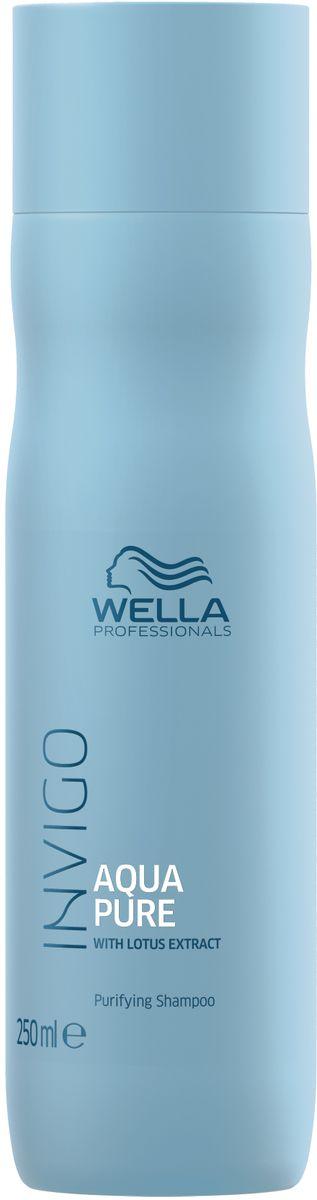 Wella Invigo Aqua Pure Очищающий шампунь, 250 мл81650067Свежесть и чистота. Для волос, сияющих здоровьем. Шампунь тщательно очищает волосы и кожу головы от внешних загрязнений и стайлинговых средств.С экстрактом лотоса. Объем: 250 мл