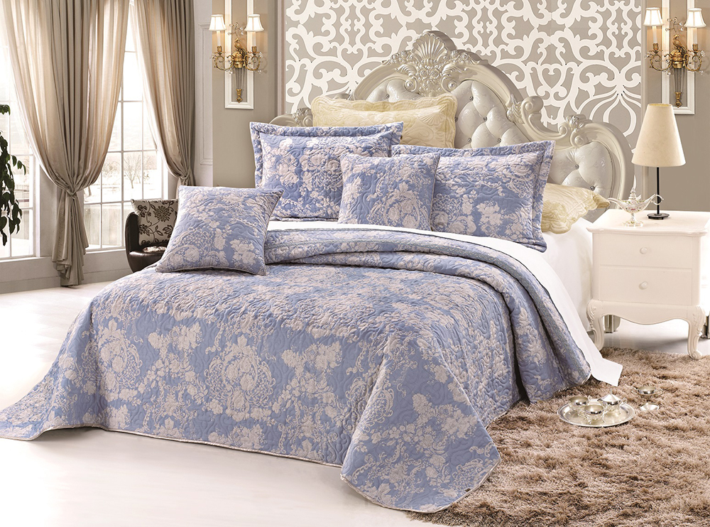 """Комплект для спальни Tango """"Madeira"""": покрывало 160 х 240 см, наволочка 50х50 см, цвет: бежевый, голубой"""