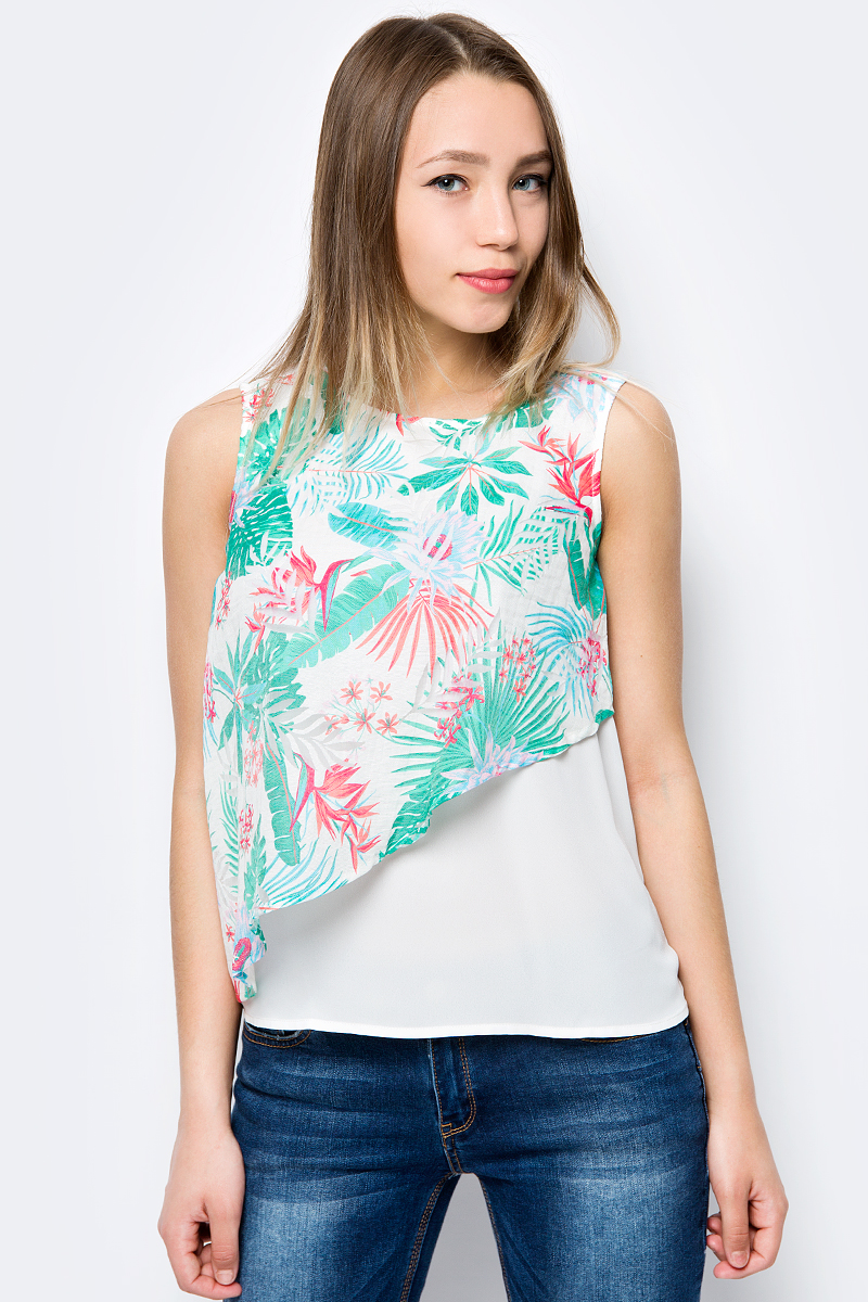 Блузка женская Sela, цвет: белый, зеленый, коралловый. Twsl-112/250-8234. Размер 50 блузка женская sela цвет красный twsl 112 805 8111 размер 44