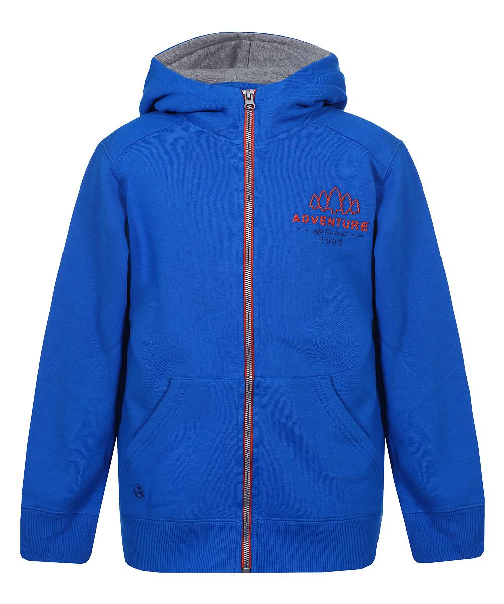 Детская толстовка с капюшоном - подойдет для прогулок, как верхняя одежда в прохладную погоду или под куртку в холодную погоду - изготовлена из толстого х/б флиса с начесом внутри, который хорошо сохраняет тепло - застежка молния по всей длине - передние накладные карманы - плотные трикотажные манжеты и пояс - капюшон на регулируемых широких завязках- шнурках - вышивка ADVENTURE слева на груди - вышитый логотип G на правом кармане.