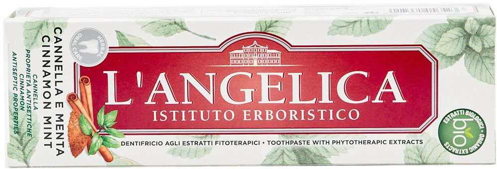Langelica Зубная паста с Мятой и Корицей, 75 мл535-4-13445На протяжении более 20 лет Istituto Erboristico LAngelica изучает натуральные продукты для вашего благополучия, сочетая древние травяные традиции с научными инновациями. Представляем ассортимент зубных паст основанных на растительных экстрактах, содержащие кокосовое масло, которое обеспечивает полную защиту ваших зубов и десен. Побалуйте себя острым ароматом корицы, которая обладает антисептическими свойствами, в сочетании с мятой.