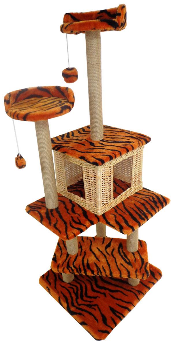 """Игровой комплекс для кошек Меридиан """"Лестница. Тигровый"""", 56 х 52 х 140 см"""