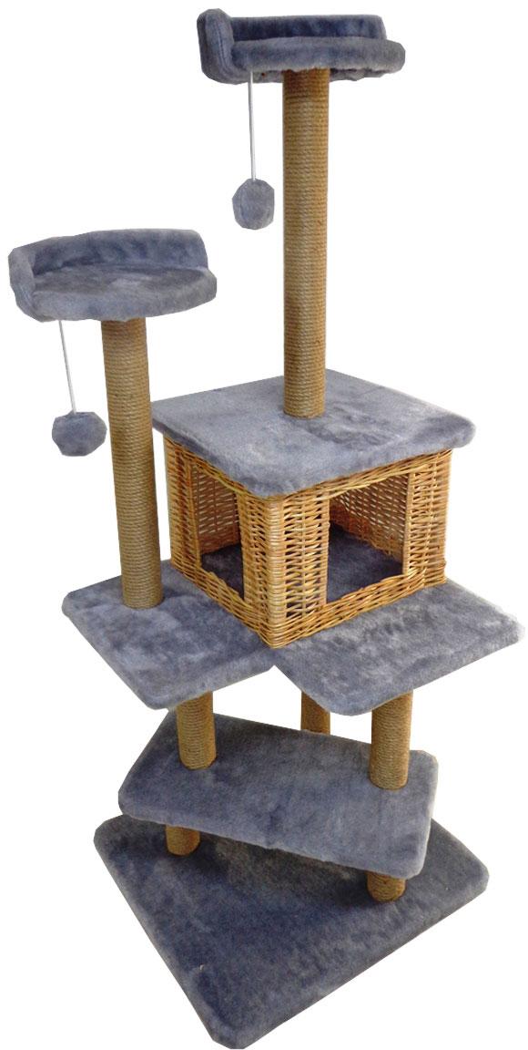 Игровой комплекс для кошек Меридиан Лестница, цвет: светло-серый, 56 х 52 х 140 смД151Л СС