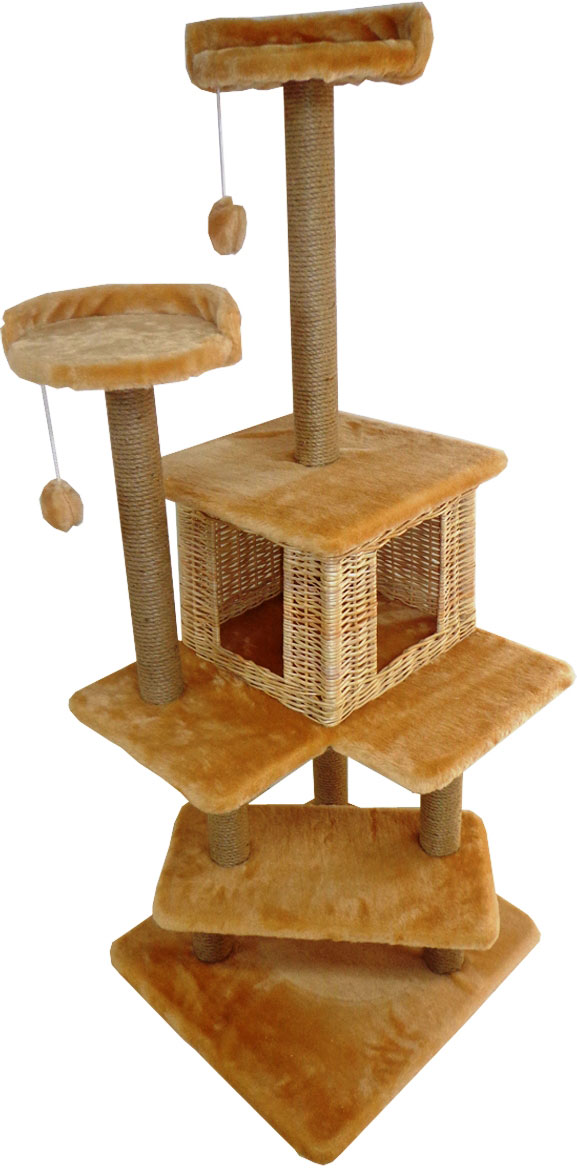Игровой комплекс для кошек Меридиан Лестница, цвет: светло-коричневый, 56 х 52 х 140 см