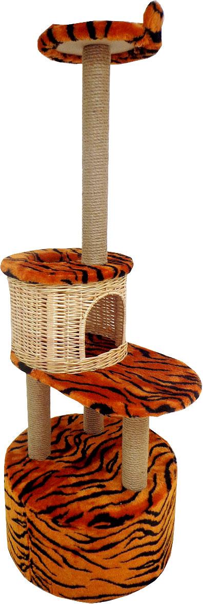 Домик-когтеточка Меридиан Круглый с площадкой и полкой. Тигровый, 55 х 50 х 147 см домик когтеточка меридиан угловой 4 ярусный цвет тигровый 55 х 48 х 158 см