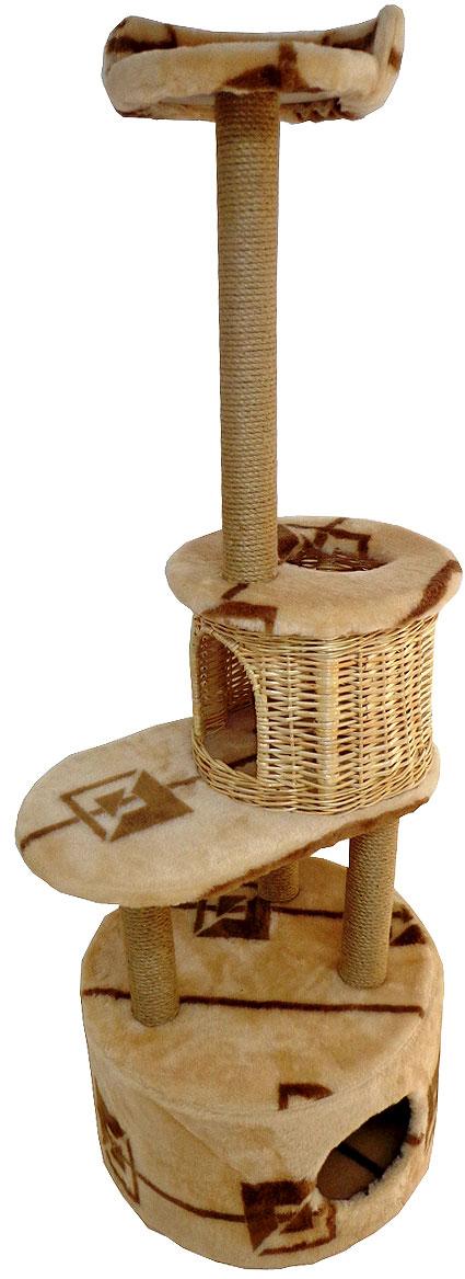 Домик-когтеточка Меридиан Круглый с площадкой и полкой. Геометрия, 55 х 50 х 147 см домик когтеточка меридиан угловой 4 ярусный цвет тигровый 55 х 48 х 158 см