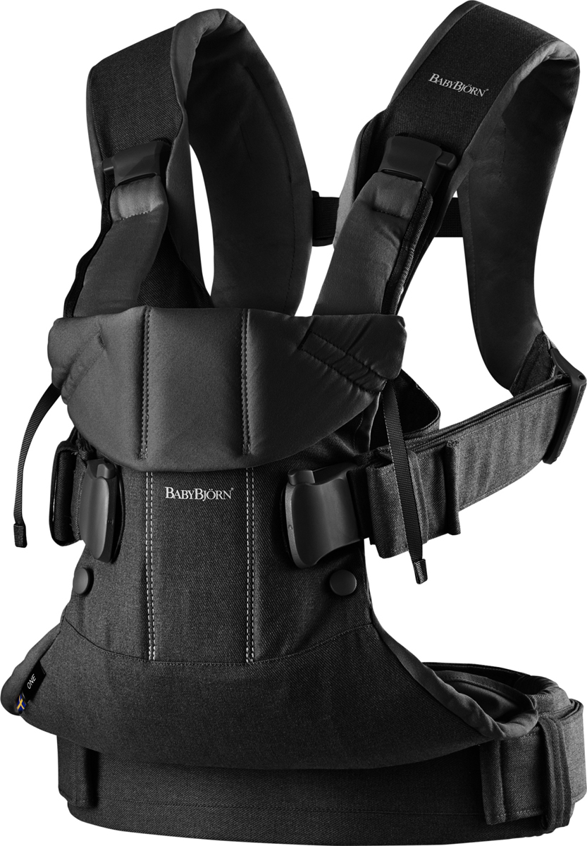 BabyBjorn Рюкзак для переноски ребенка One Soft Cotton Mix цвет черный - Рюкзаки, слинги, кенгуру