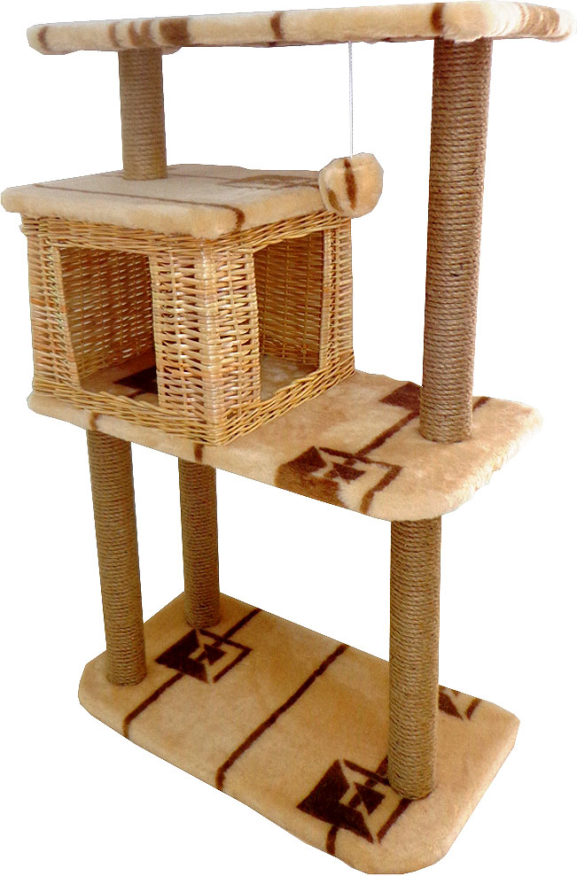Домик-когтеточка Меридиан Квадратный трехэтажный с полкой. Геометрия, 65 х 36 х 105 см домик когтеточка меридиан квадратный 2 ярусный с игрушкой цвет белый черный бежевый 50 х 36 х 75 см