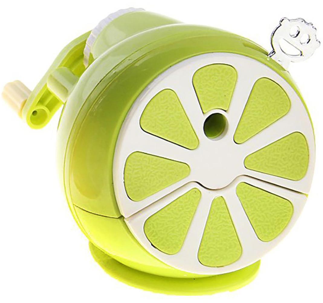 Точилка механическая с контейнером Апельсин цвет зеленый 127693 - Чертежные принадлежности