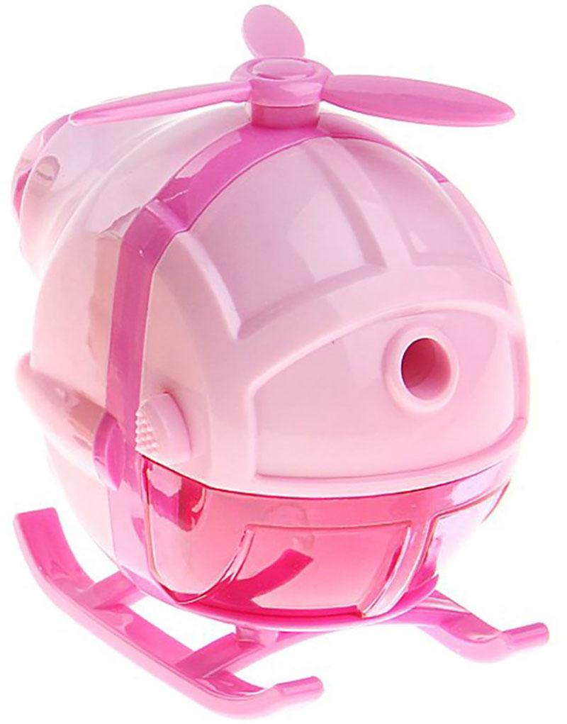 Точилка механическая с контейнером Вертолет цвет розовый 127694 - Чертежные принадлежности