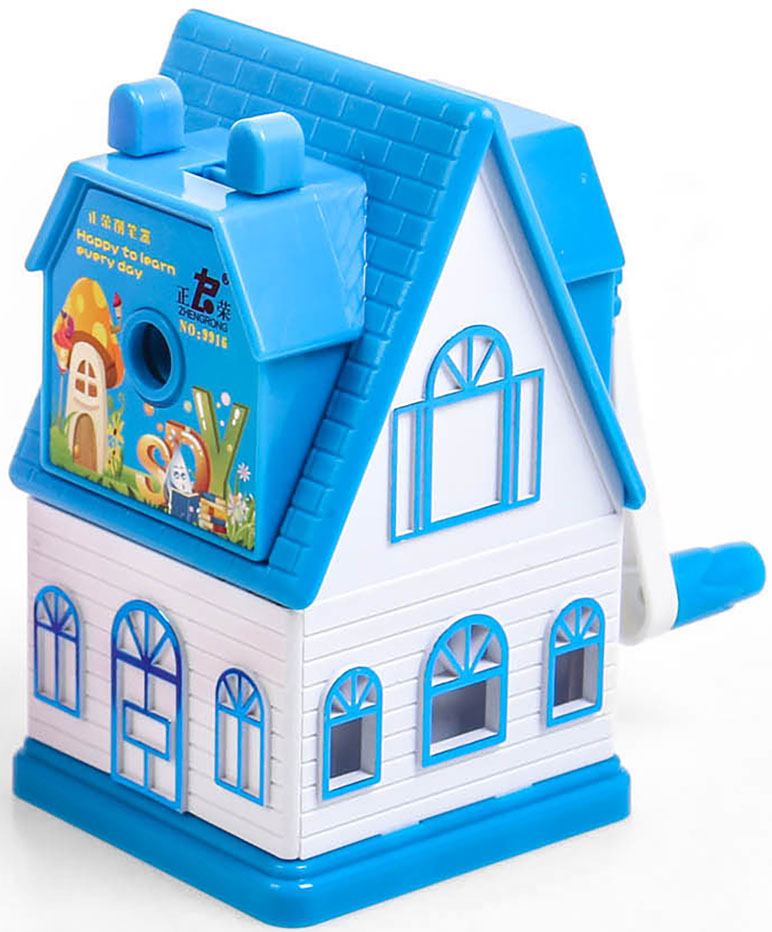Точилка механическая с контейнером Домик цвет голубой 2924202 - Чертежные принадлежности