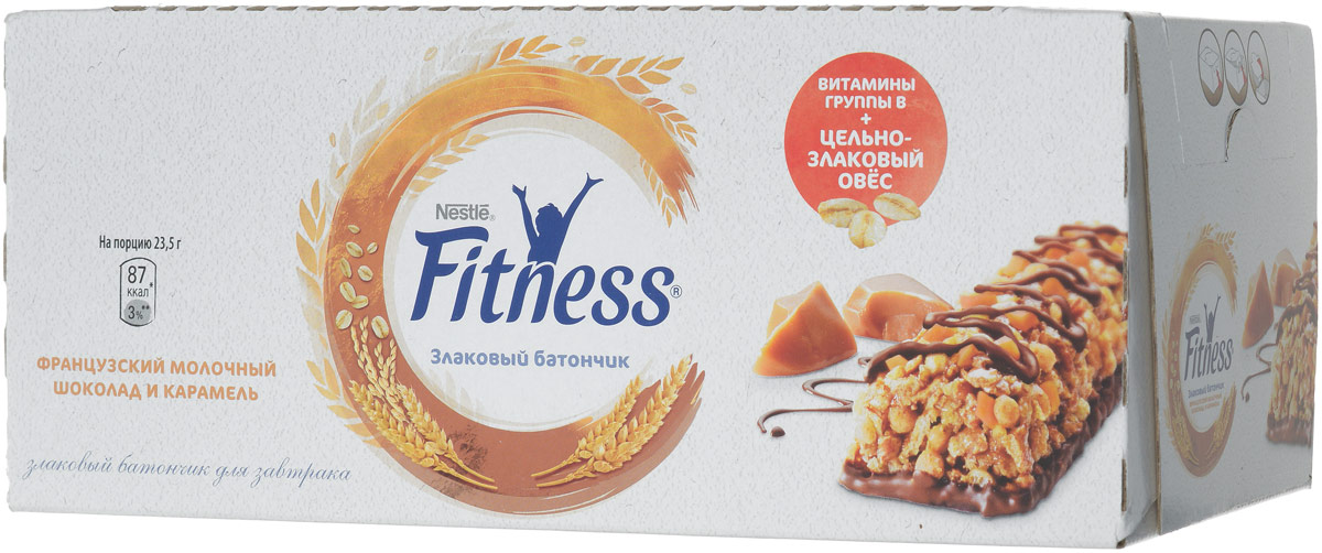 Nestle Fitness Злаковый батончик с французским молочным шоколадом и карамелью, 24 шт по 23,5 г велотренажер spirit fitness xbr25 2017