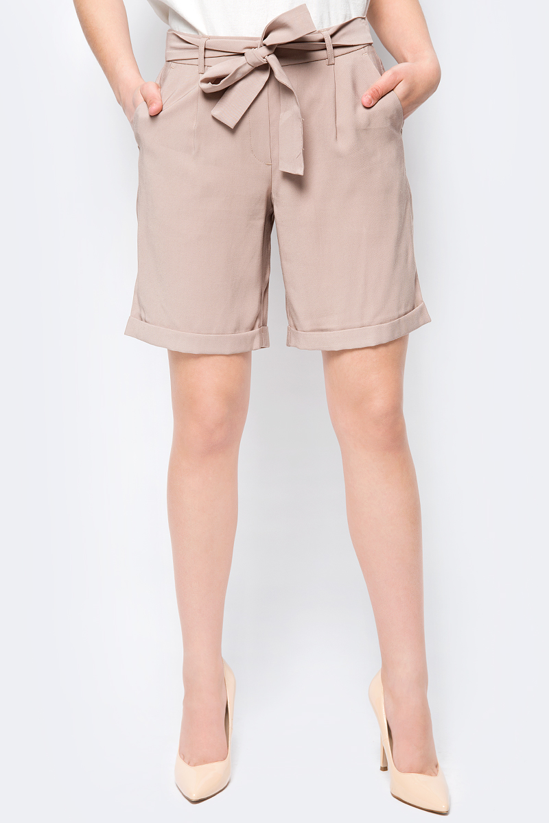 Шорты женские Vero Moda, цвет: коричневый. 10192472. Размер 42 (48) брюки женские vero moda цвет черный 10183272 размер s 32 42 32