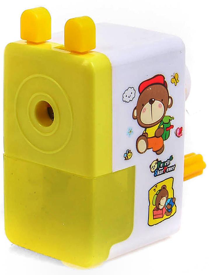 Точилка механическая с контейнером Классика с рисунком цвет желтый 2924201 точилка для карандашей механическая панда e0518