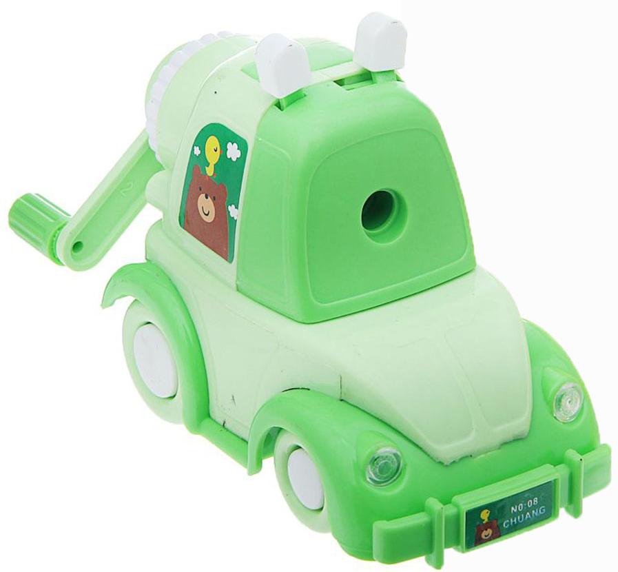 Точилка механическая с контейнером Машинка цвет зеленый 1101886