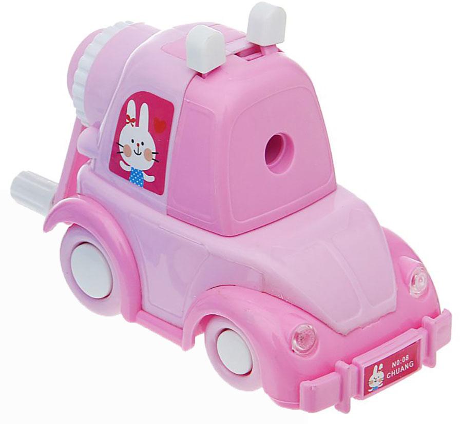 Точилка механическая с контейнером Машинка цвет розовый 1101886 -  Чертежные принадлежности