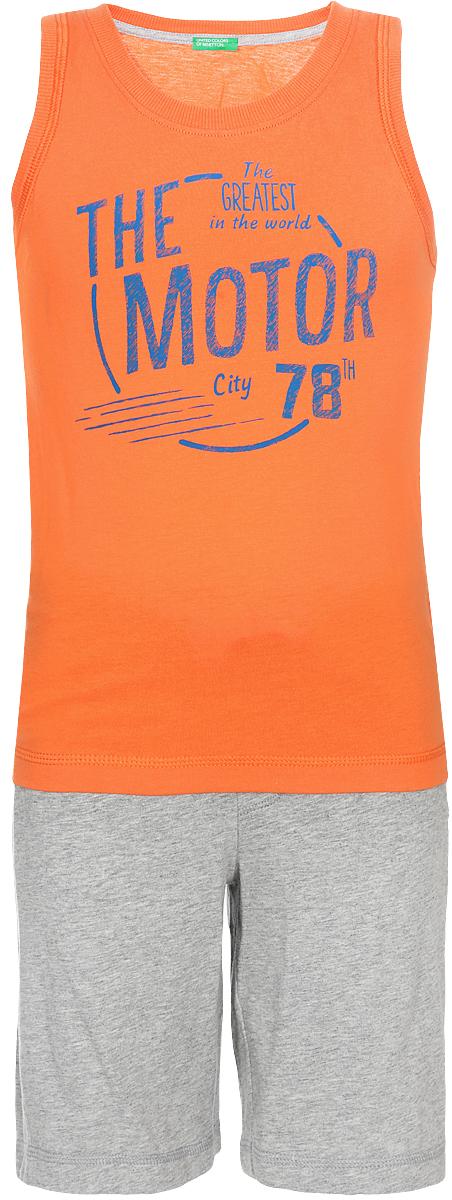 Комплект одежды для мальчика United Colors of Benetton: майка, шорты, цвет: оранжевый. 3096Z8194_09N. Размер 90 united colors of benetton комплект одежды