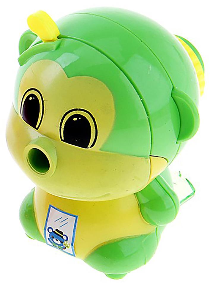 Точилка механическая с контейнером Обезьянка цвет зеленый 649808 -  Чертежные принадлежности