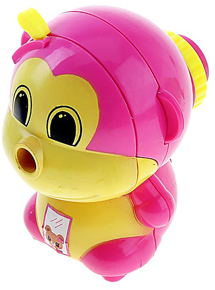 Точилка механическая с контейнером Обезьянка цвет розовый 649808 - Чертежные принадлежности