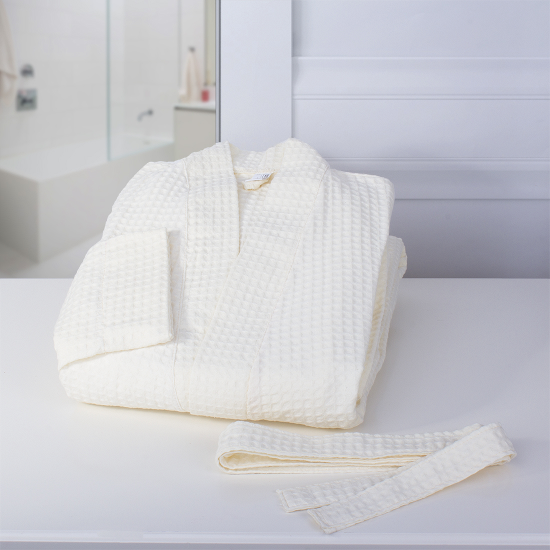 Халат-кимоно Dome  Ribbed , цвет: молочный. Размер L -  Баня, сауна