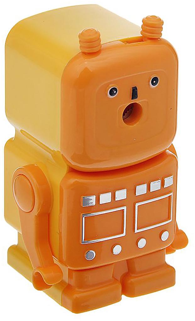 Точилка механическая с контейнером Робот цвет оранжевый 12692791269279_оранжевыйТочилка — необходимый инструмент на любом школьном или офисном столе. В зависимости от особенностей конструкции она может быть ручной (небольшой размер, помещается в кармане) или настольной (более крупная) и подходить для обычных или толстых карандашей. Заострить, выровнять или восстановить сломавшийся грифель — вот главные функции этого приспособления.