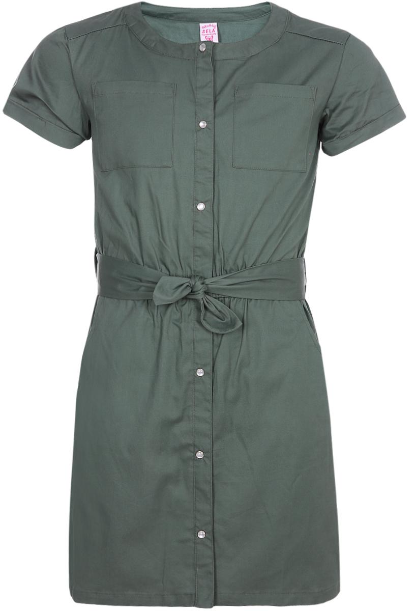 Платье для девочки Sela, цвет: зеленый. Ds-617/891-8243. Размер 134, 9 лет сарафан для девочки sela цвет мультиколор dsl 617 893 8243 размер 152 12 лет
