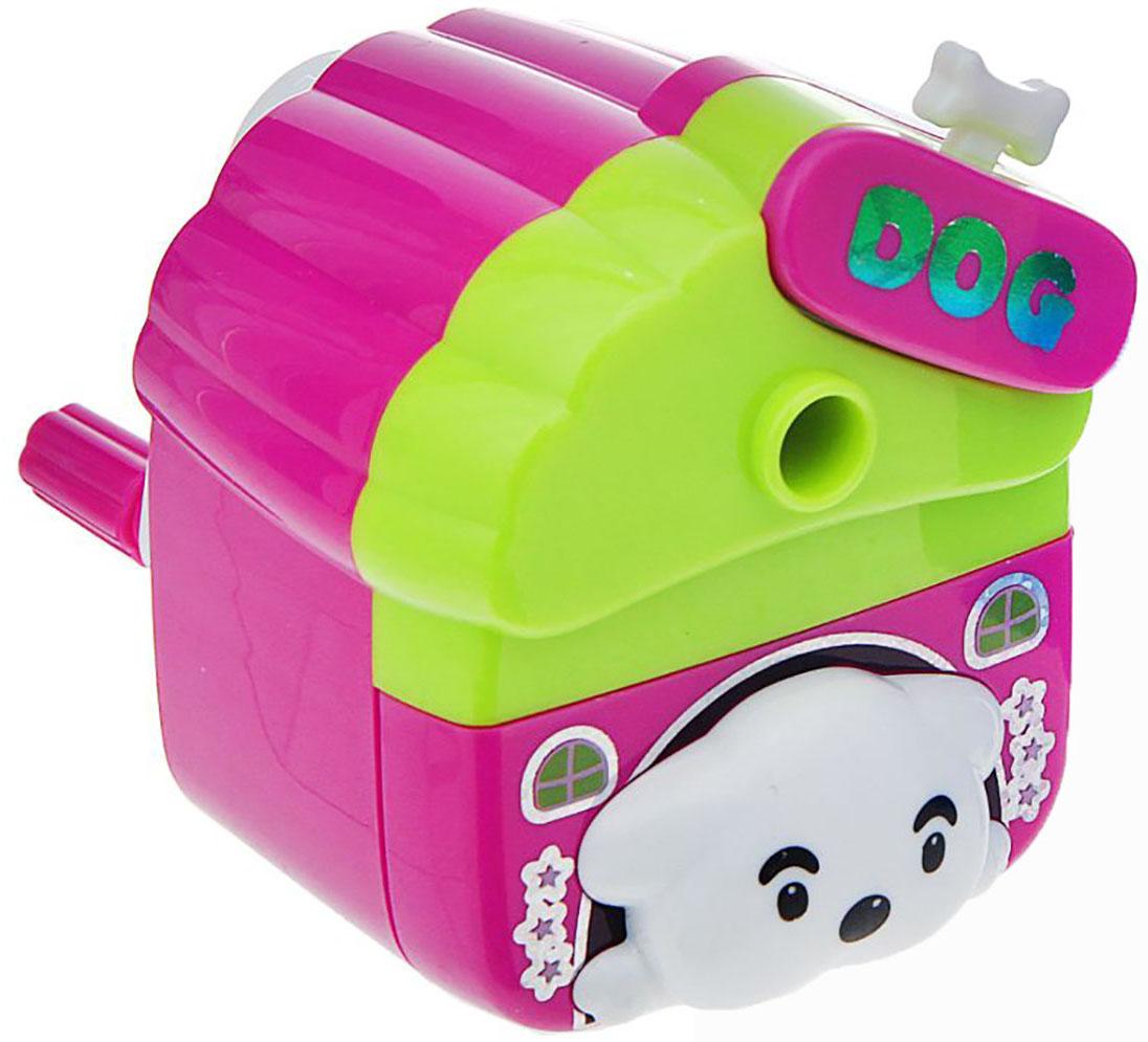 Точилка механическая с контейнером Собачка в будке цвет розовый 1269278 точилка для карандашей механическая панда e0518